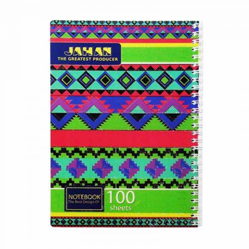 دفتر مشق ۱۰۰ برگ فنر دوبل طرح سنتی جلد طلقی اکلیلی1
