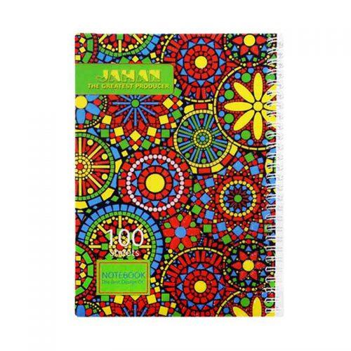دفتر مشق ۱۰۰ برگ فنر دوبل طرح سنتی جلد طلقی اکلیلی2