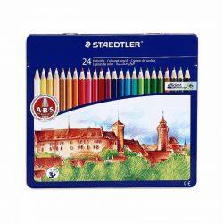 مداد رنگی ۲۴ رنگ جعبه فلزی STAEDTLER