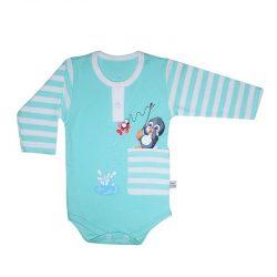 لباس نوزاد آستین بلند زیردکمه دار طرح پنگوئن به آوران