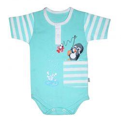 لباس نوزاد آستین کوتاه زیردکمه دار طرح پنگوئن به آوران